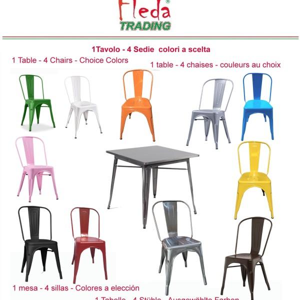 Set 1 Tavolo + 4 SEDIE in Metallo Stile Industriale Tipo ...