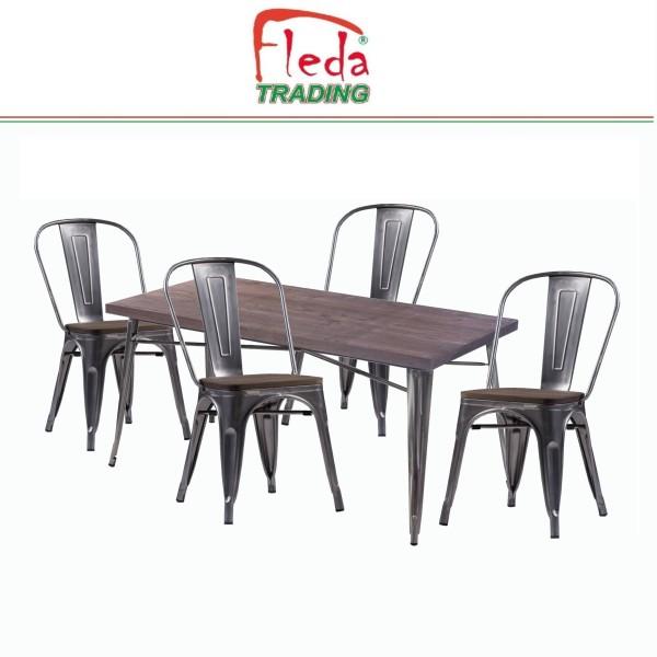 tavolo con sedie allumio legno logo