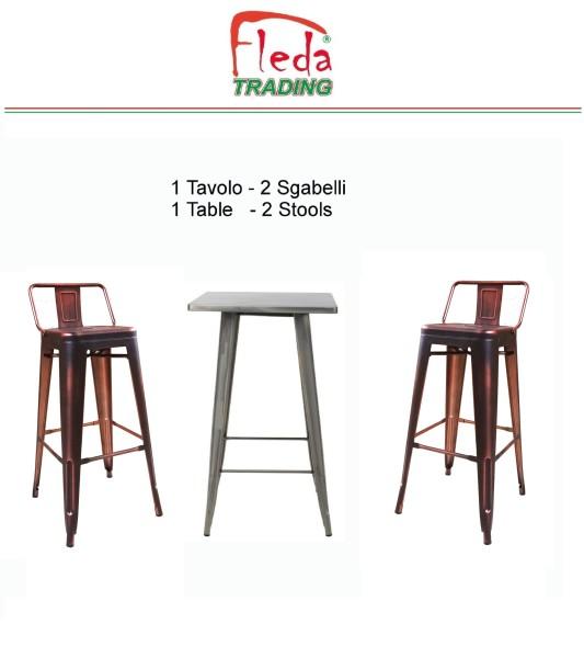 tavolo con 2 sgabelli piallati