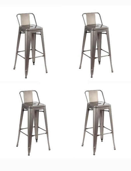 sgabello con schienale grigio x4